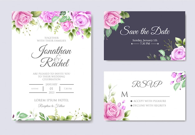 Belle invitation de mariage avec des feuilles florales