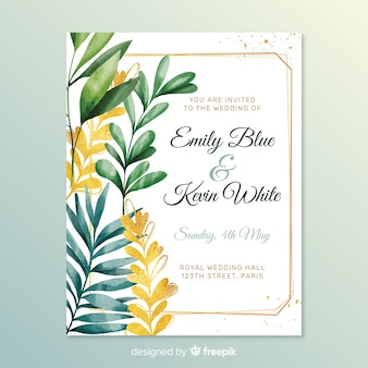 Belle invitation de mariage avec des feuilles
