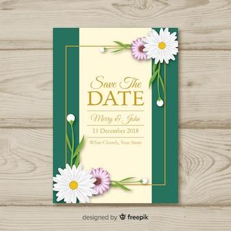 Belle invitation de mariage avec des fleurs réalistes