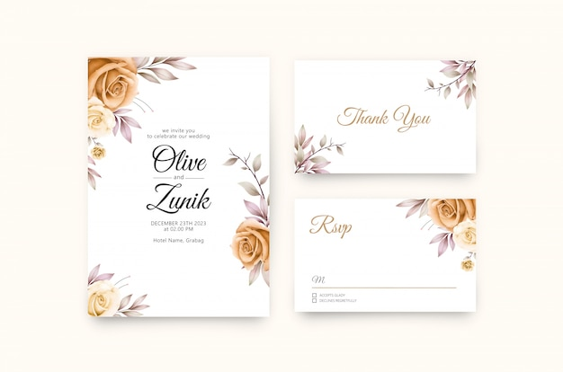 Belle invitation de mariage floral avec aquarelle de roses jaunes
