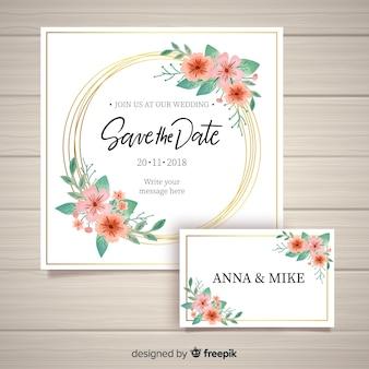Belle invitation de mariage floral avec cadre doré