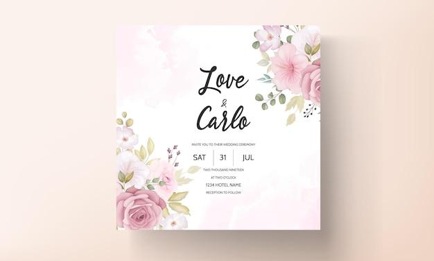 Belle invitation de mariage floral dessiné main douce