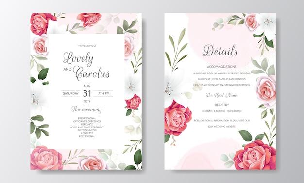 Belle Invitation De Mariage Floral Avec Des Roses En Fleurs Et Des Feuilles Vertes Vecteur Premium