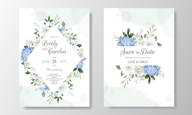 Belle invitation de mariage floral avec des roses en fleurs et des feuilles vertes