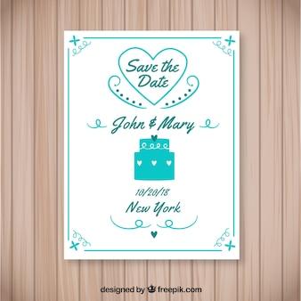 Belle invitation de mariage avec gâteau et coeur
