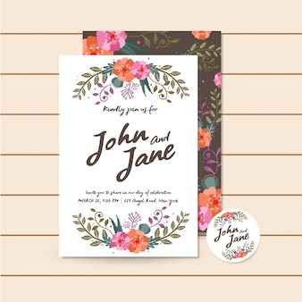 Belle invitation de mariage marron de luxe illustration florale