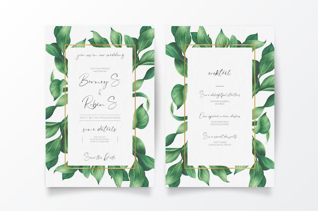 Belle invitation de mariage et menu avec des feuilles sauvages