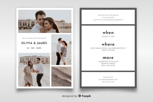 Belle invitation de mariage avec modèle de photo