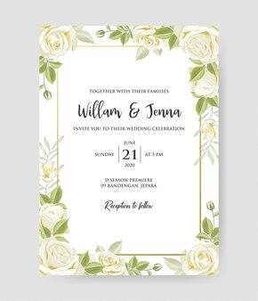 Belle invitation de mariage avec motif de couronne et cadre décoratif de branches de roses.