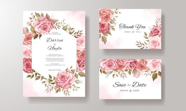 Belle invitation de mariage avec ornement rose