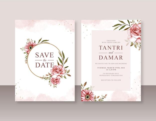Belle invitation de mariage avec peinture à l'aquarelle rose
