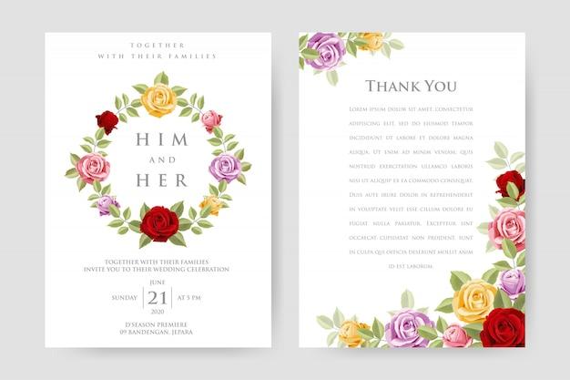 Belle invitation de mariage avec des roses colorées