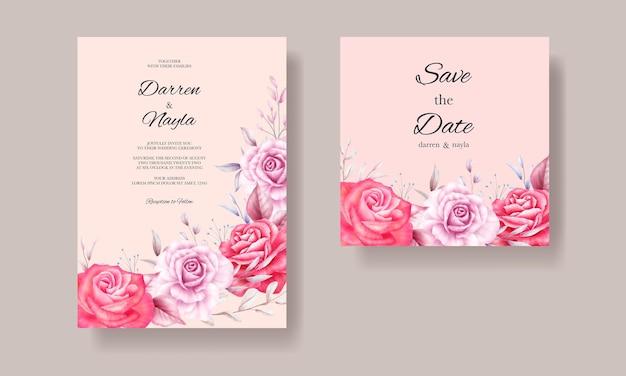 Belle invitation de mariage avec des roses rouges et violettes