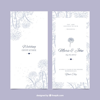 Belle invitation de mariage avec une végétation dessinée à la main
