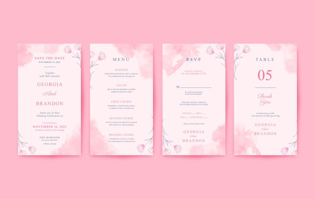 Belle invitation de mariage vertical aquarelle rose