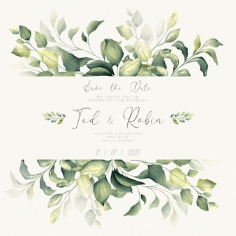 Belle invitation save the date avec des feuilles d'aquarelle