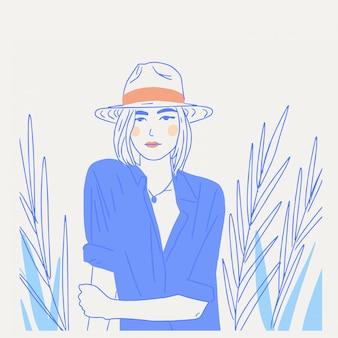 Belle jeune femme en chapeau et chemisiers minimalisme illustration dessin au trait bleu