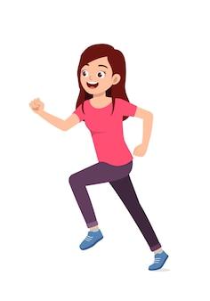 Belle jeune femme faisant courir pose