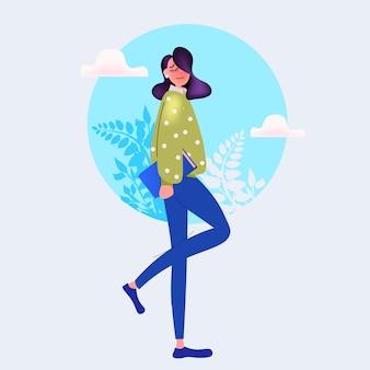 Belle jeune femme tenant un livre personnage de dessin animé féminin debout pose illustration vectorielle pleine longueur