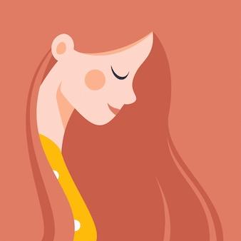 Belle jeune fille aux cheveux roux souriant