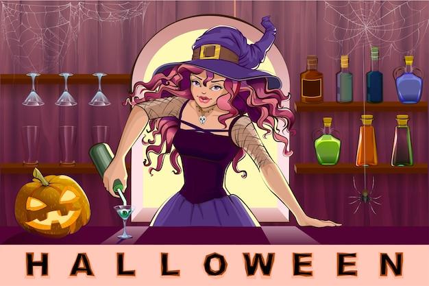 Belle jolie sorcière verse des cocktails halloween party. illustration de dessin animé