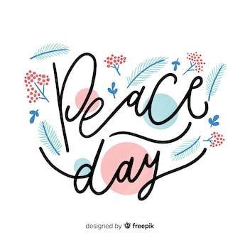 Belle journée de composition de paix avec un lettrage mignon