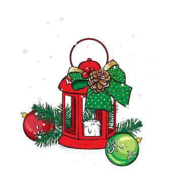 Belle lanterne avec des décorations de noël
