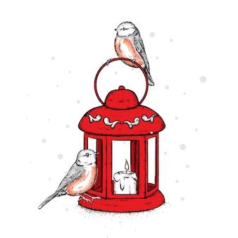 Belle lanterne vintage avec une bougie et des oiseaux. beaux bouvreuils.