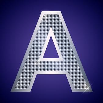Belle lettre a en argent avec des brillants. police vectorielle, police alphabétique pour logo ou icône eps10