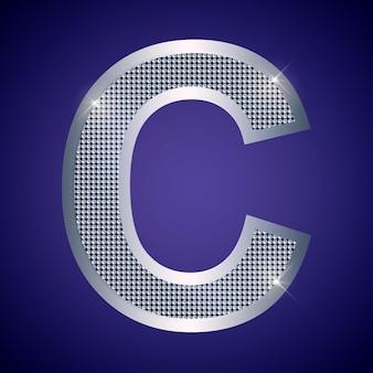 Belle lettre c en argent avec des brillants. police vectorielle, police alphabétique pour logo ou icône eps10