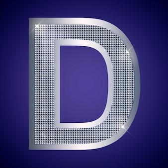 Belle lettre d en argent avec des brillants. police vectorielle, police alphabétique pour logo ou icône eps10