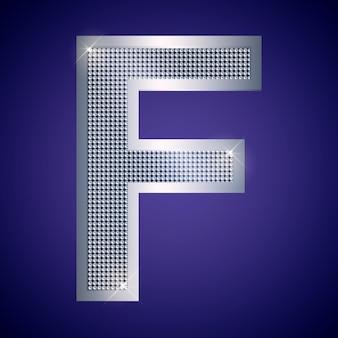 Belle lettre f en argent avec des brillants. police vectorielle, police alphabétique pour logo ou icône eps10