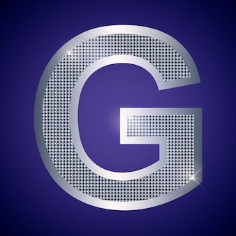 Belle lettre g en argent avec des brillants. police vectorielle, police alphabétique pour logo ou icône eps10