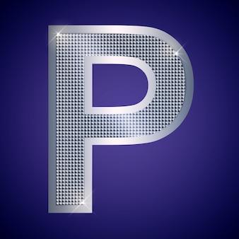 Belle lettre p en argent avec brillants. police vectorielle, police alphabétique pour logo ou icône eps10