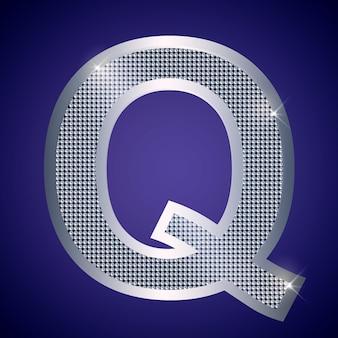 Belle lettre q en argent avec des brillants. police vectorielle, police alphabétique pour logo ou icône eps10