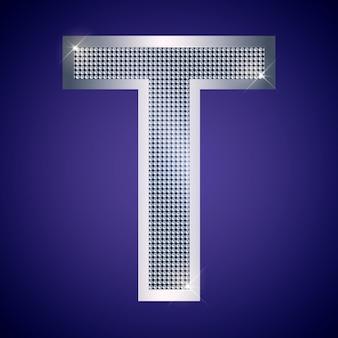 Belle lettre t en argent avec brillants. police vectorielle, police alphabétique pour logo ou icône eps10