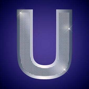 Belle lettre u en argent avec brillants. police vectorielle, police alphabétique pour logo ou icône eps10