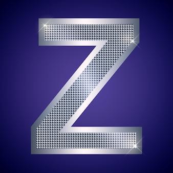 Belle lettre z en argent avec des brillants. police vectorielle, police alphabétique pour logo ou icône eps10