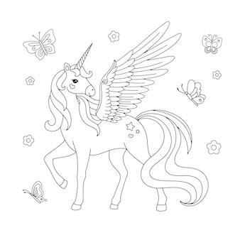 Belle licorne avec la page de coloriage de dessin de papillon
