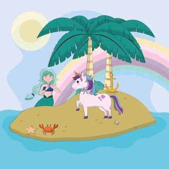 Belle licorne avec sirène sur les dessins animés mignons de l'île