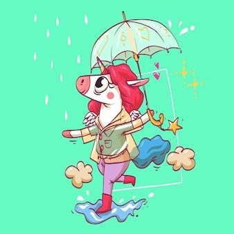 Une belle licorne super mignonne court sous la pluie