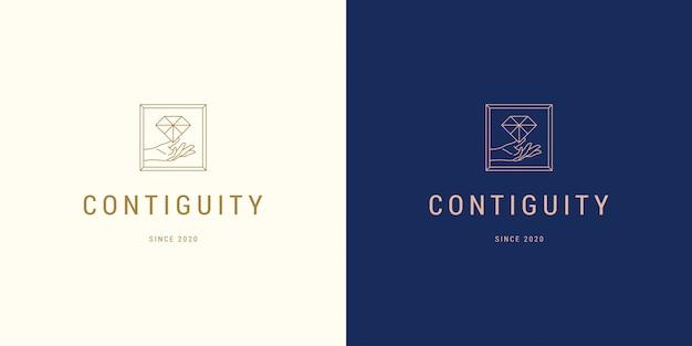 Belle ligne de main féminine tenant diamant vecteur logo emblème modèle de conception illustration simple style linéaire minimal