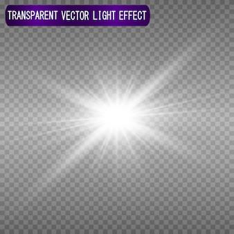Une belle lumière blanche explose avec une explosion transparente.