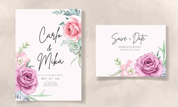 Belle main dessin aquarelle plante succulente et modèle d'invitation de mariage fleur rose