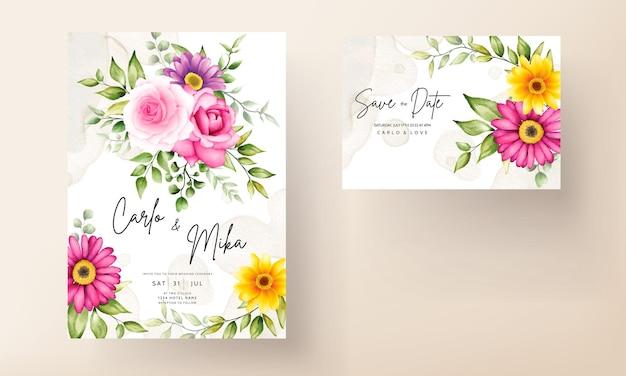 Belle main dessin carte d'invitation de mariage fleur aquarelle