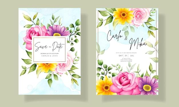 Belle main dessin invitation de mariage design floral aquarelle