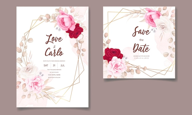 Belle main dessin invitation de mariage design floral marron