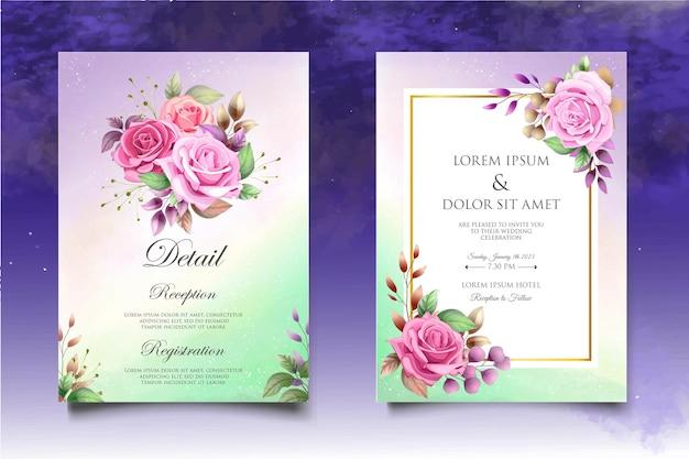 Belle main dessin modèle d'invitation de mariage floral