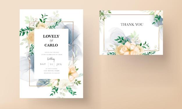Belle main dessin modèle de jeu d'invitation de mariage floral doux