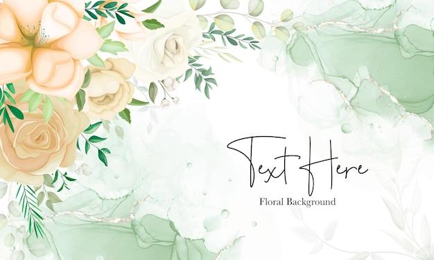 Belle main dessinant un fond floral doux